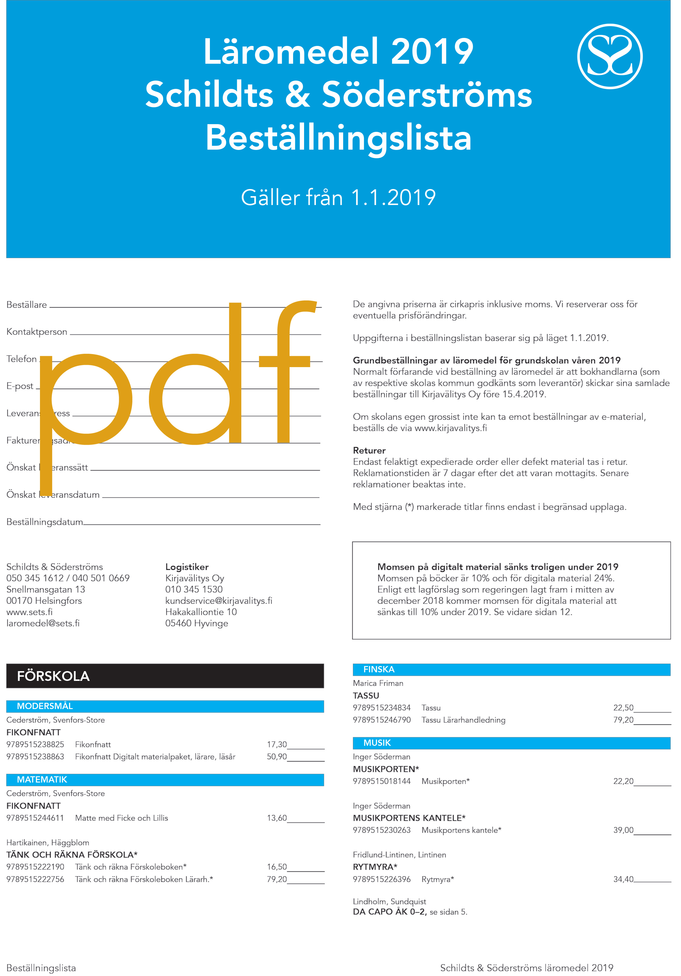 Beställningslista 2019 pdf