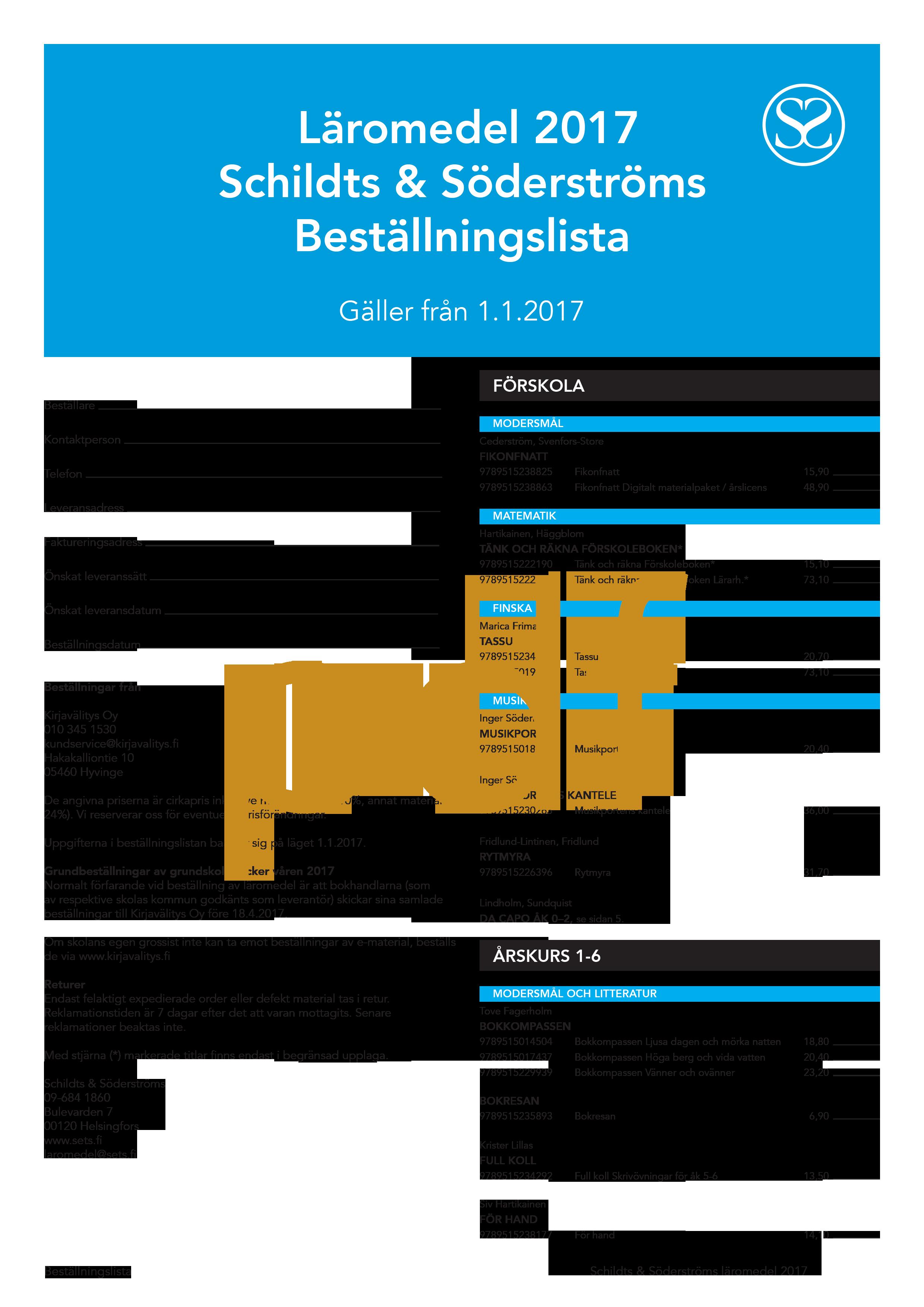 Beställningslista 2017 pdf
