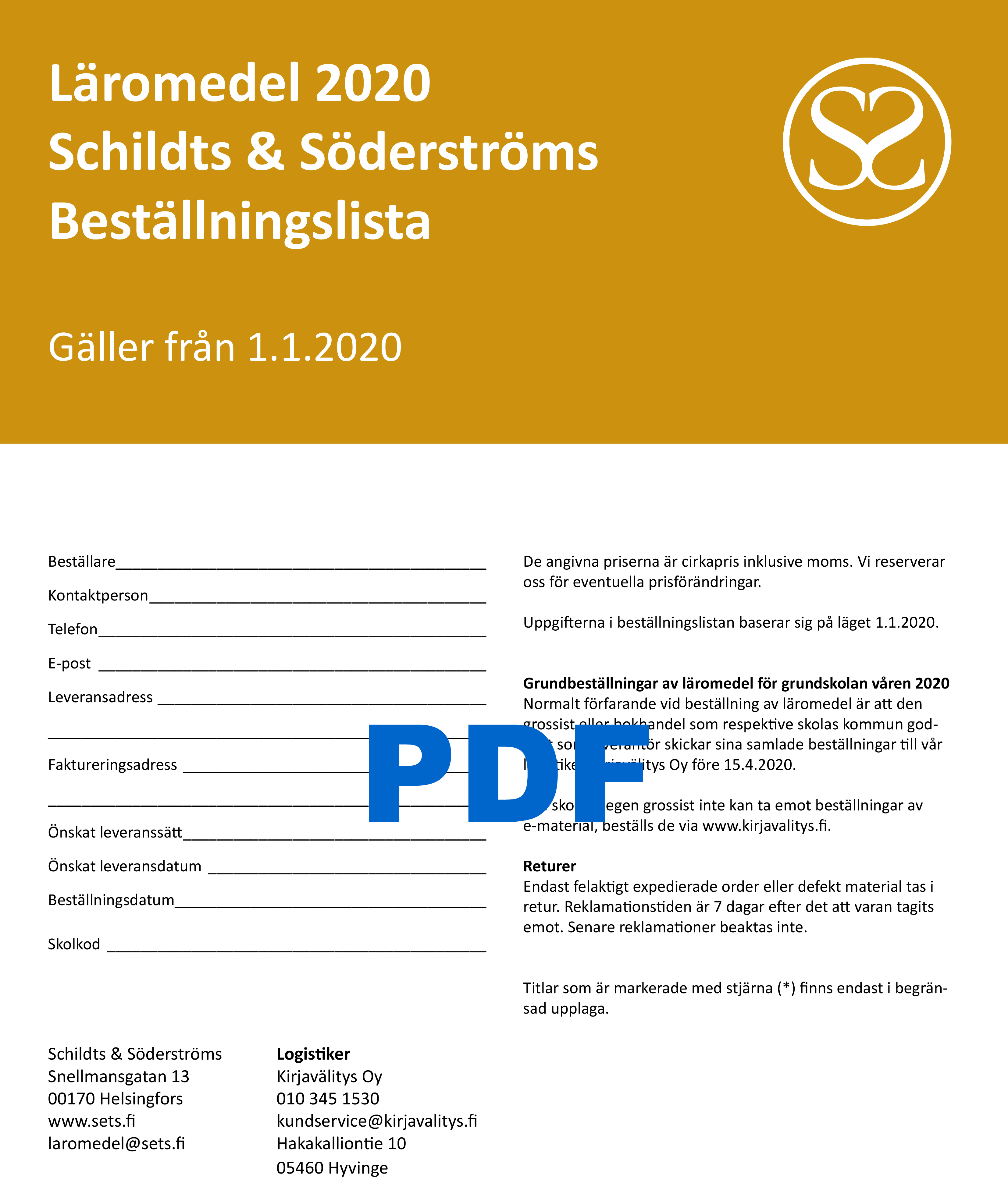Beställningslista 2020 pdf